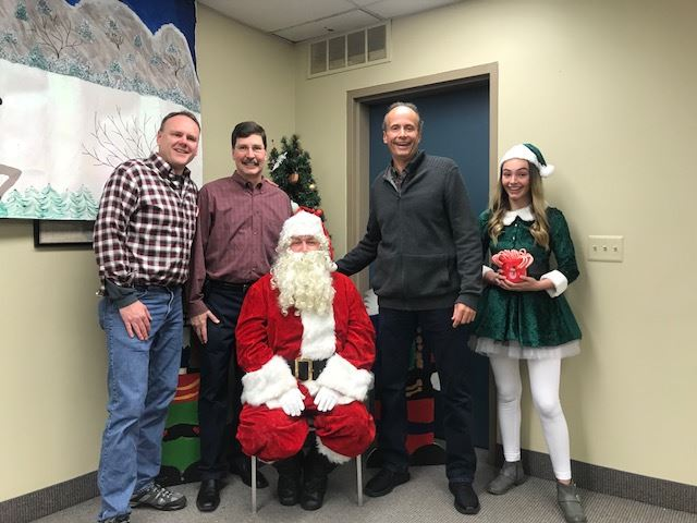 Township Committee Members with Santa