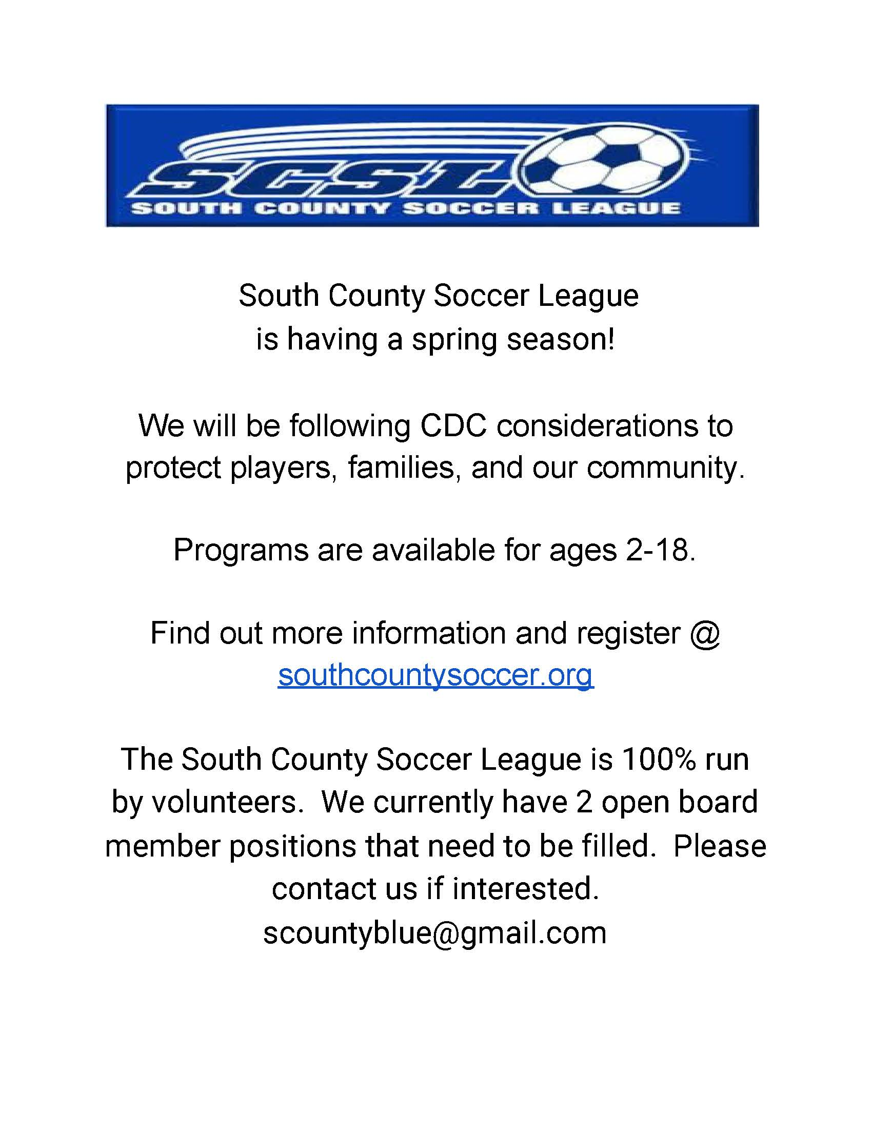 SCSL SPRING FLYER Opens in new window