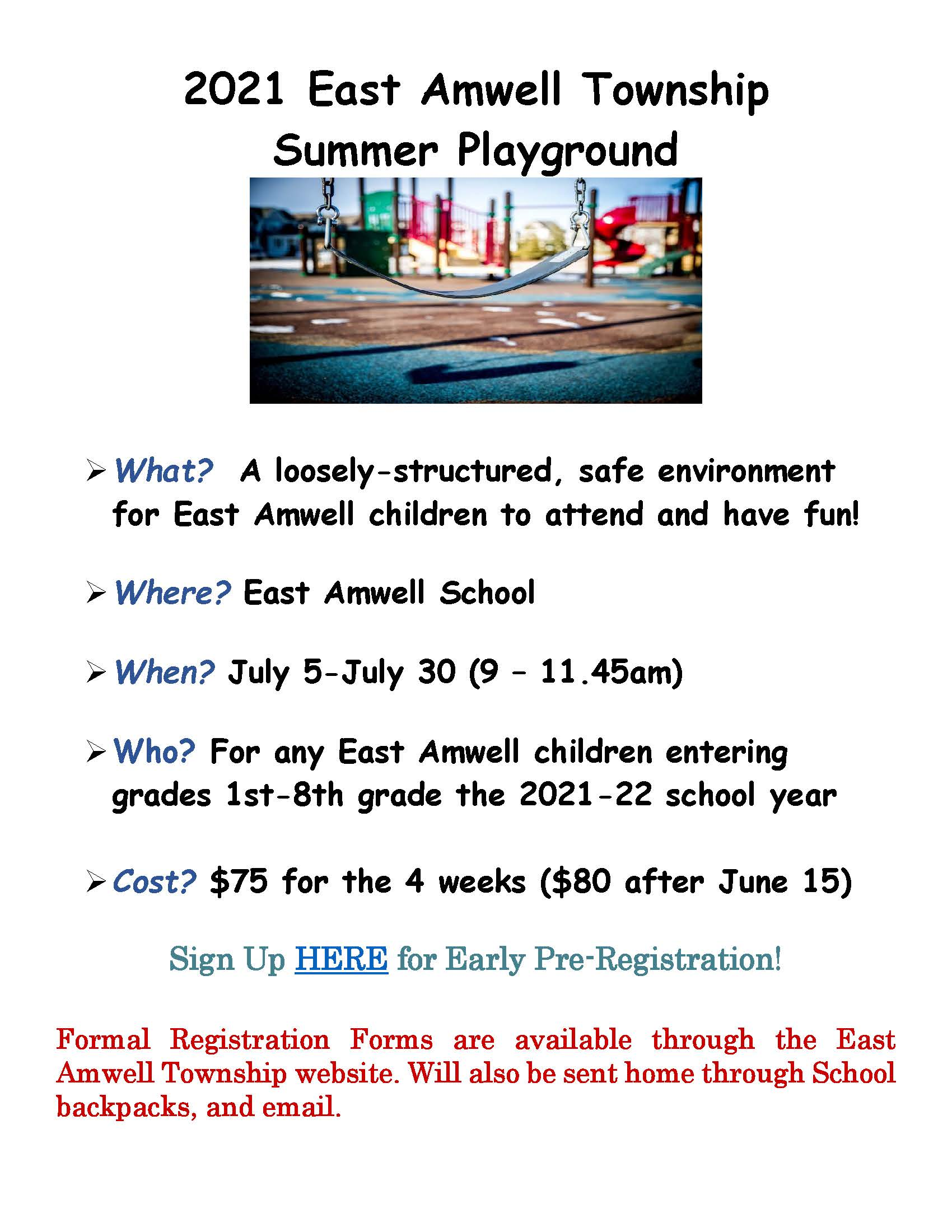 2021 East Amwell Township Summer Playground Flyer Opens in new window